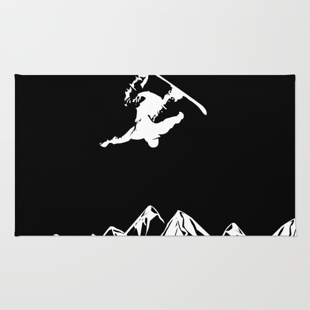 Rocky Mountain Snowboarder Catching Air Rug by Podartist RUG8899731