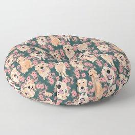 Golden Retriever and flowers on green Floor Pillow