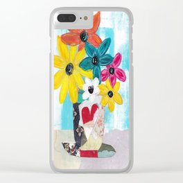 PATCHWORK VASE Clear iPhone Case
