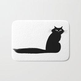 Long Tail Black Cat Bath Mat