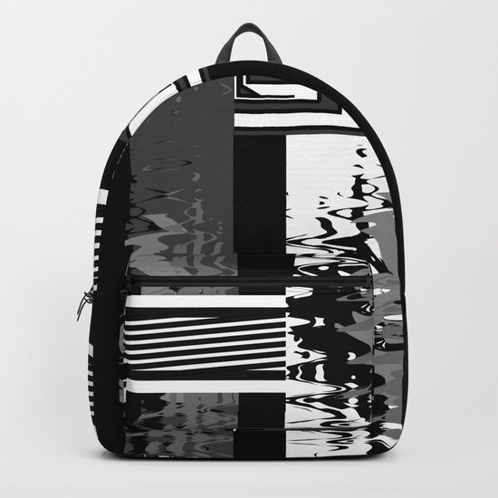 Creative Black and white pattern . The braided belts . Backpack