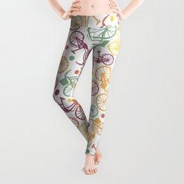 Whimsical bicycle pattern & retro polka dots Leggings