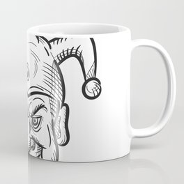 Crazy Medieval Court Jester Drawing Coffee Mug