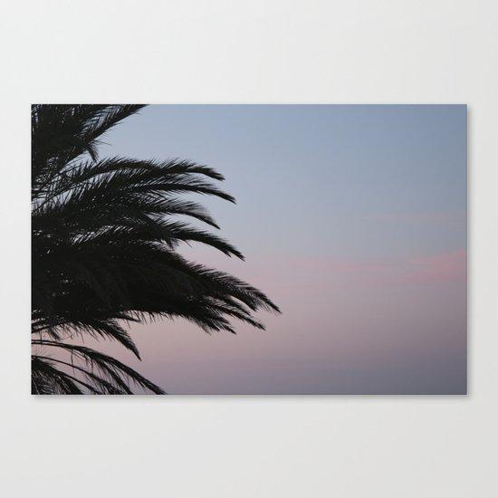 palmtree at sundown, aeolian islands Canvas Print