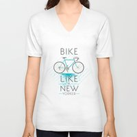 bike V-neck T-shirts featuring bike by CLOD