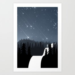 Asteroids in the night sky Art Print