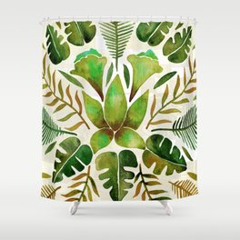 Tropical Symmetry – Olive Green Shower Curtain