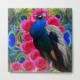 BLUE PEACOCK &  PINK ROSE FLOWERS BLUE MODERN ART Metal Print