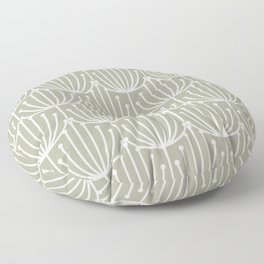 Retro Art, Floral Prints, Light Sage Green and White Floor Pillow