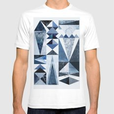 Blue Shapes Mens Fitted Tee MEDIUM White