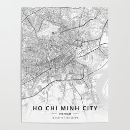 Ho Chi Minh City, Vietnam - Light Map Poster