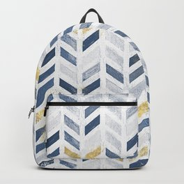 Herringbone chevron pattern. Indigo gold acrylic on canvas Backpack