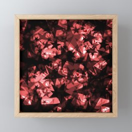 Metallic iridescent dark stars on a red background in the projection. Framed Mini Art Print