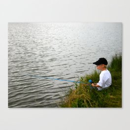 Boy fishing - M Canvas Print