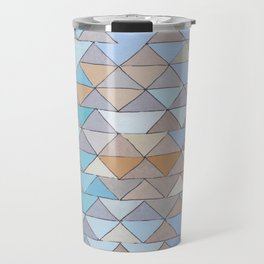 Triangle Pattern no.1 Blues and Browns Travel Mug