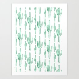 Green Cactus Illustration Art Print