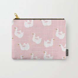 Swan Pool Float in Millenial Pink Carry-All Pouch