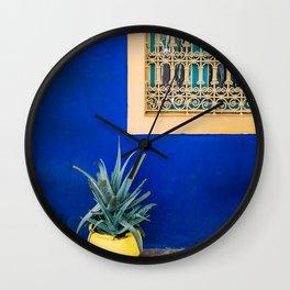 Moroccan Garden In Blue | Yellow Flower Pot | Agave Marrakesh Wall Clock
