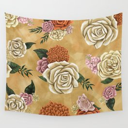 Gold luxury floral Wall Tapestry