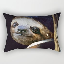 The Sloth with a Pearl Earring Rectangular Pillow