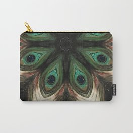 Wild Nature // Peacock Feather Jaguar Fur Leopard Animal Pattern Circle Mandala Jungle Wild Print Carry-All Pouch