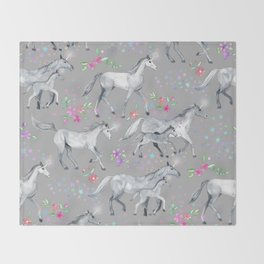 Unicorns and Stars on Soft Grey Throw Blanket