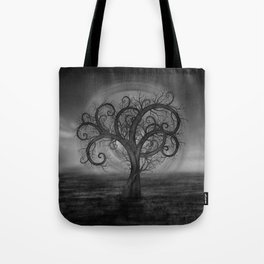 Golden Spiral Tree Black and White Tote Bag