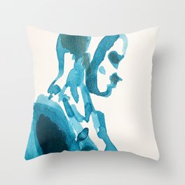 Figure in Blue Throw Pillow