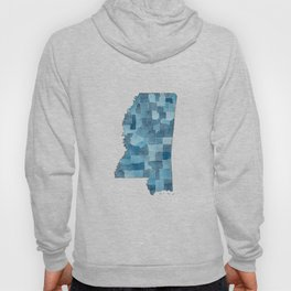Mississippi Counties Blueprint watercolor map Hoody