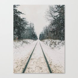 Train tracks in the winter Canvas Print