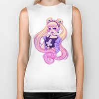 pastel goth Biker Tanks featuring Pastel Goth Usagi (Glasses OFF) by Gunkiss