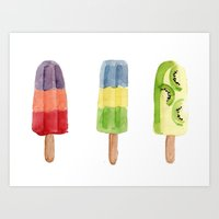 popsicle Art Prints featuring Popsicle by Marta Li