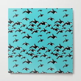 Orca Whale Pattern on Blue Metal Print