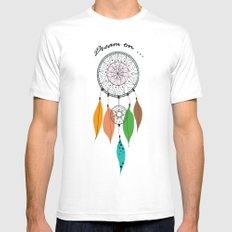 Dream on MEDIUM White Mens Fitted Tee