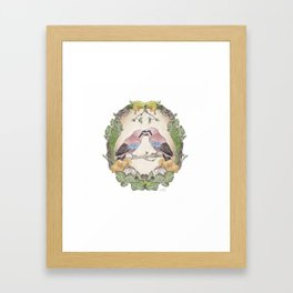 Watercolor Woodland Birds Jays in a Forest Plants , Blackberries Ivy and Fungi Mushroom Frame Framed Art Print
