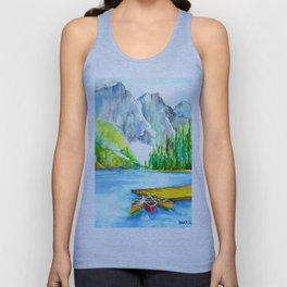 Lake Louise Watercolor Unisex Tank Top
