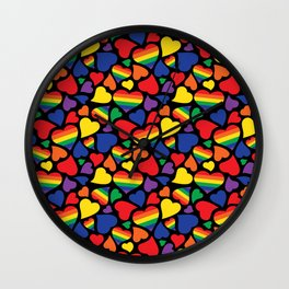 Retro Rainbow LGBT Pride Hearts Wall Clock