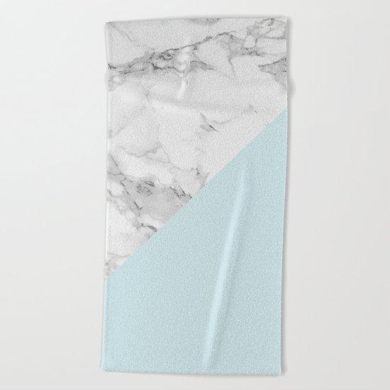 Marble + Pastel Blue Beach Towel