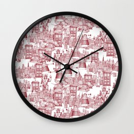 Doctor Who Toile de Jouy   'Walking Doodle'   Red Wall Clock