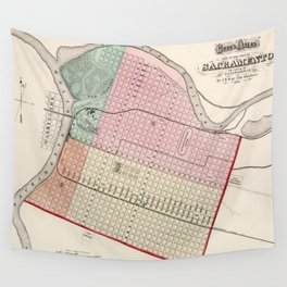 Vintage Map of Sacramento CA (1873) Wall Tapestry