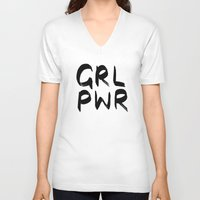 cactei V-neck T-shirts featuring GRL PWR  by ☿ cactei ☿