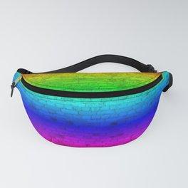Bright Neon Rainbow Color Wheel Spectrum Brick Wall Fanny Pack