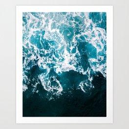 Blue Wave Network – Minimalist Oceanscape Photography Art Print