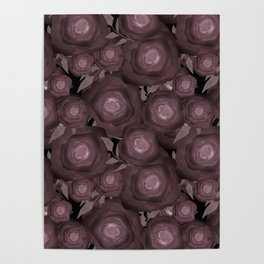 Abstract flowers in black and brown colours . Poster