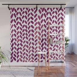 Cute watercolor knitting pattern - plum Wall Mural