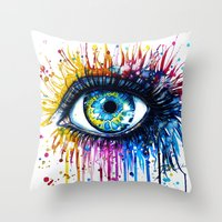 "power Throw Pillows featuring ""Rainbow Eye"" by PeeGeeArts"