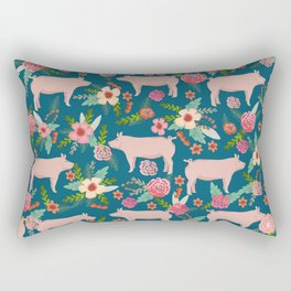 Pig florals farm homesteader pigs cute farms animals floral gifts Rectangular Pillow