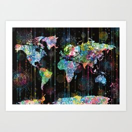 world map mandala black 1 Art Print
