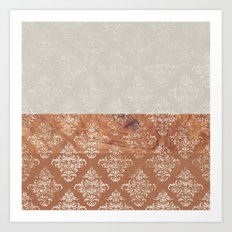 Layers Damask Wood Art Print