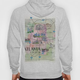 Atlanta Favorite Map with touristic Top Ten Highlights in Colorful Retro Style Hoody
